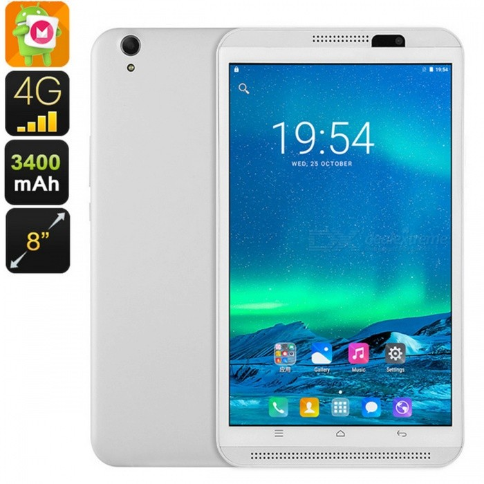 T26 Dual-IMEI Android 6.0 8-Inch 4G Tablet PC with Quad-Core CPU, 2GB RAM, 4500mAh Battery - White