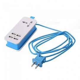 HZN402 4-Port USB Power Socket, Mobile Phone Charger Travel Plug - Blue(US Plug)