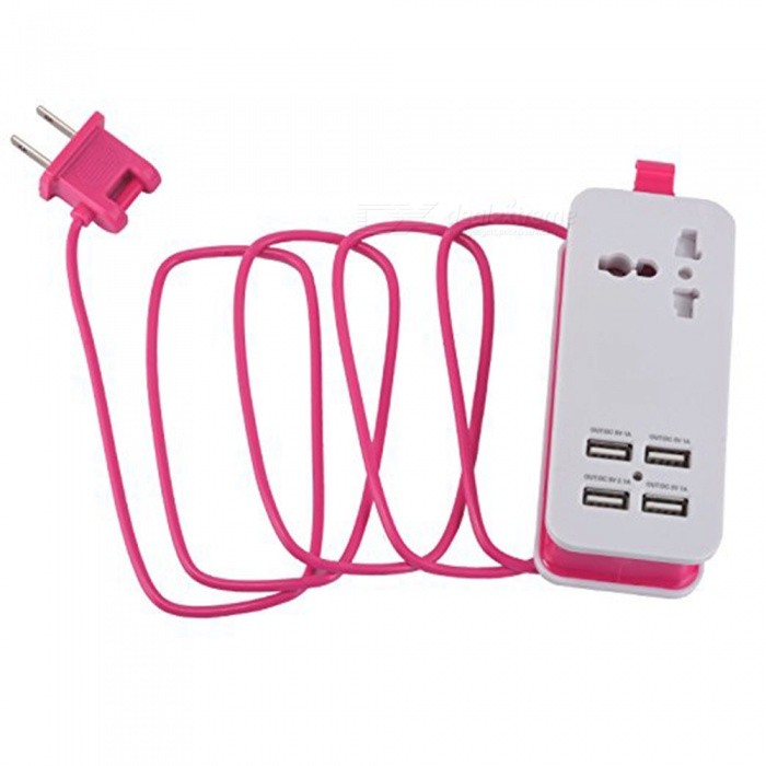 HZN402 4-Port USB Power Socket, Mobile Phone Charger Travel Plug - Pink (US Plug)Plugs &amp; Sockets<br>ColorPinkModelHZN402Quantity1 setMaterialABSFireproof MaterialYesRate VoltageAC100-240/50-60HZRated Current4 ARated Power500 WCompatible PlugUS Plug,Others,USBGroundingNoWith Switch ControlNoSurge Protection FunctionNoLightning Protection FunctionYesWith FuseNoCable Length1.5 mPower AdapterUS PlugCertificationCEPacking List1 x Socket<br>