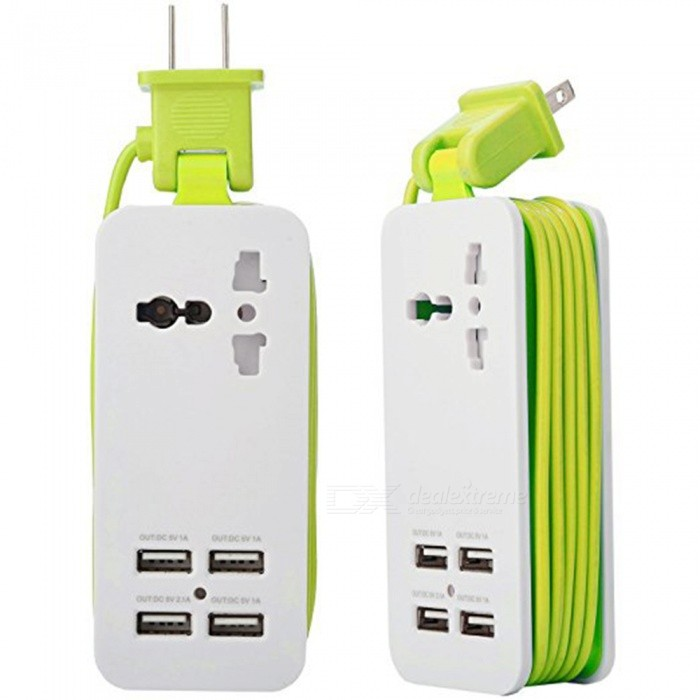 HZN402 4-Port USB Power Socket, Mobile Phone Charger Travel Plug - Green (US Plug)Plugs &amp; Sockets<br>ColorGreenModelHZN402Quantity1 setMaterialABSFireproof MaterialYesRate VoltageAC100-240/50-60HZRated Current4 ARated Power500 WCompatible PlugUS Plug,Others,USBGroundingNoWith Switch ControlNoSurge Protection FunctionNoLightning Protection FunctionYesWith FuseNoCable Length1.5 mPower AdapterUS PlugCertificationCEPacking List1 x Socket<br>