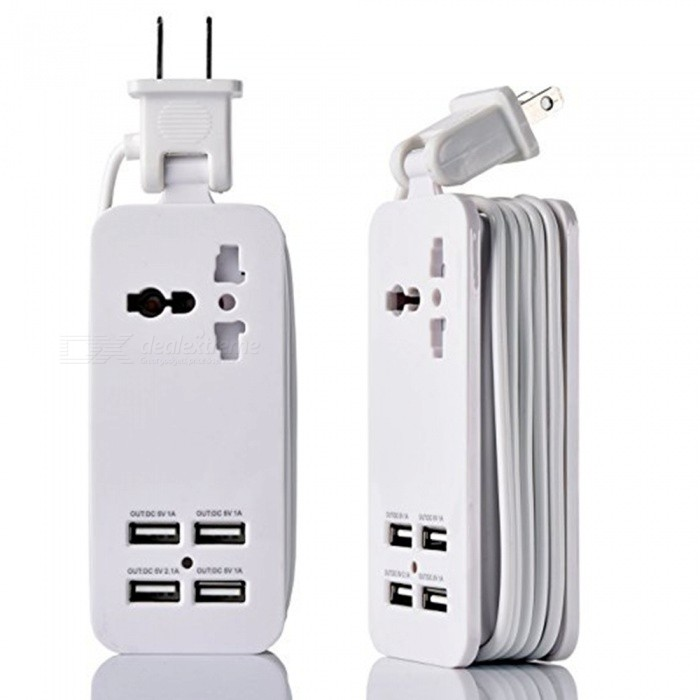 HZN402 4-Port USB Power Socket, Mobile Phone Charger Travel Plug - White (US Plug)Plugs &amp; Sockets<br>ColorWhiteModelHZN402Quantity1 setMaterialABSFireproof MaterialYesRate VoltageAC100-240/50-60HZRated Current4 ARated Power500 WCompatible PlugUS Plug,Others,USBGroundingNoWith Switch ControlNoSurge Protection FunctionNoLightning Protection FunctionYesWith FuseOthersCable Length1.5 mPower AdapterUS PlugCertificationCEPacking List1 x Socket<br>