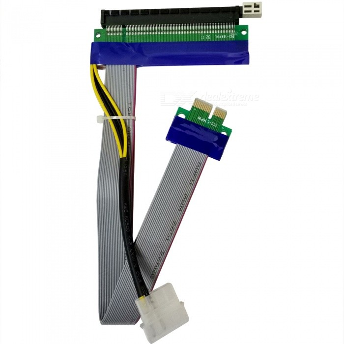 Dayspirit PCI Express PCI-E 1x to 16x Powered Extender Riser Adapter Card Flexible CableColorMulticolorModelN/AQuantity1 pieceForm  ColorBlack + Blue + Multi-ColoredMaterialABSPacking List1 x Connector<br>