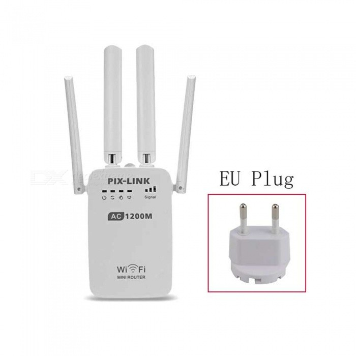 1200Mbps Wireless Wi-Fi Router Repeater Adapter - White  (EU Plug )Routers<br>ColorWhitePower AdapterEU PlugQuantity1 pieceMaterialABSShade Of ColorWhiteTypeRouterTransmission RateOthers,1200 MbpsNetwork ProtocolsIEEE 802.11a,IEEE 802.11n,IEEE 802.11bWireless Data RatesOthers,1200MWAN1UI LanguageEnglishSupport DD-WRTYesPacking List1 x Wi-Fi router1 x Power adapter1 x RJ45 cable1 x English user manual<br>