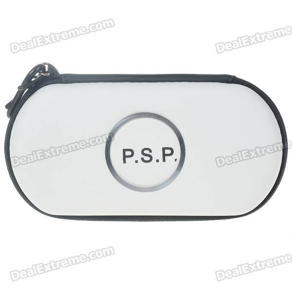 Hard Protective Carrying Pouch with Carabiner Clip for PSP 1000/2000/3000 - White