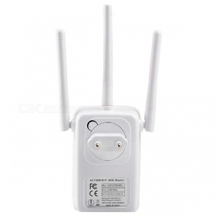 750Mbps Dual Band 2.4G &amp; 5.8G Wireless Wi-Fi Repeater with 3 External AntennasRouters<br>ColorWhiteModelLV-AC04Quantity1 setMaterialABSShade Of ColorWhiteTypeOthers,RepeaterTransmission RateOthers,750 MbpsUI LanguageEnglishSupport DD-WRTNoPacking List1 x Wireless-N Repeater1 x RJ45 Networking Cable1 x Installation Guide<br>
