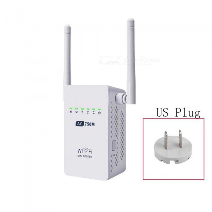 750Mbps Wireless Wi-Fi Router Repeater Adapter - White (US Plug)Routers<br>ColorWhitePower AdapterUS PlugQuantity1 pieceMaterialABSShade Of ColorWhiteTypeRouterTransmission RateOthers,750M bpsNetwork ProtocolsIEEE 802.11aUI LanguageEnglishSupport DD-WRTYesPacking List1 x Wi-Fi router1 x Power adapter1 x RJ45 cable1 x English user manual<br>