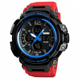 SKMEI 1343 50m Waterproof Men's Digital Sports Watch - Blue + Red