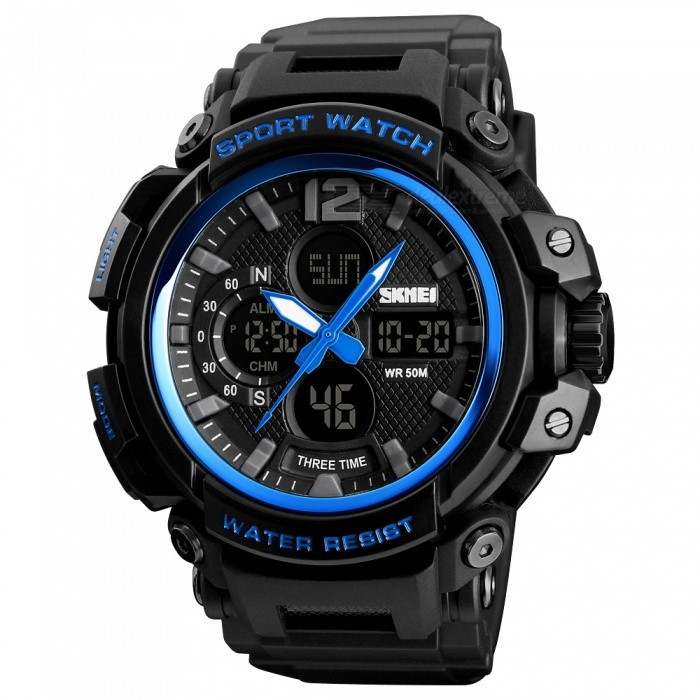 SKMEI 1343 50m Waterproof Mens Digital Sports Watch - BlueSport Watches<br>ColorBlueModel1343Quantity1 pieceShade Of ColorBlueCasing MaterialABSWristband MaterialPUSuitable forAdultsGenderMenStyleWrist WatchTypeCasual watchesDisplayAnalog + DigitalMovementDigitalDisplay Format12/24 hour time formatWater ResistantWater Resistant 5 ATM or 50 m. Suitable for swimming, white water rafting, non-snorkeling water related work, and fishing.Dial Diameter6.4 cmDial Thickness1.8 cmWristband Length26 cmBand Width2.1 cmBattery1 x CR2025 / SR626SWPacking List1 x SKMEI 1343 Watch<br>