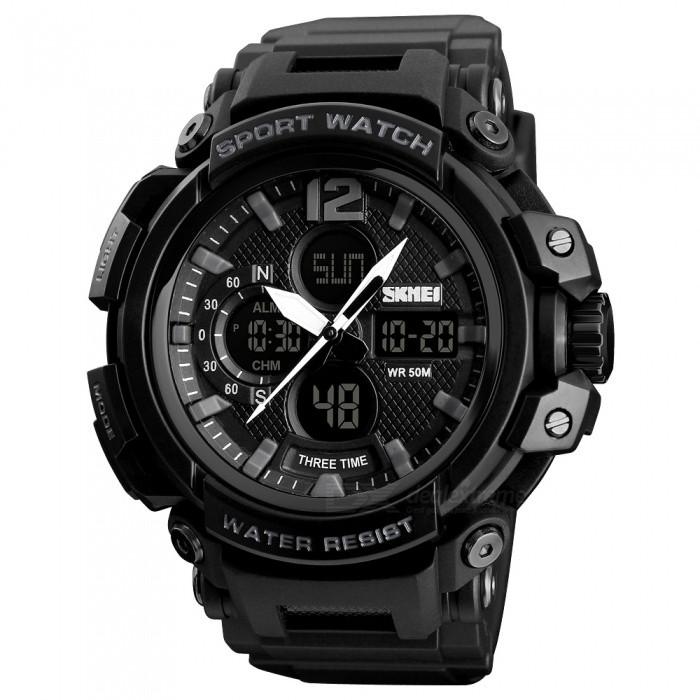 SKMEI 1343 50m Waterproof Mens Digital Sports Watch - BlackSport Watches<br>ColorBlackModel1343Quantity1 pieceShade Of ColorBlackCasing MaterialABSWristband MaterialPUSuitable forAdultsGenderMenStyleWrist WatchTypeCasual watchesDisplayAnalog + DigitalMovementDigitalDisplay Format12/24 hour time formatWater ResistantWater Resistant 5 ATM or 50 m. Suitable for swimming, white water rafting, non-snorkeling water related work, and fishing.Dial Diameter6.4 cmDial Thickness1.8 cmWristband Length26 cmBand Width2.1 cmBattery1 x CR2025 / SR626SWPacking List1 x SKMEI 1343 Watch<br>