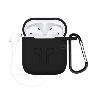 Portable Silicone Case with Key Chain for Apple AirPods - Black
