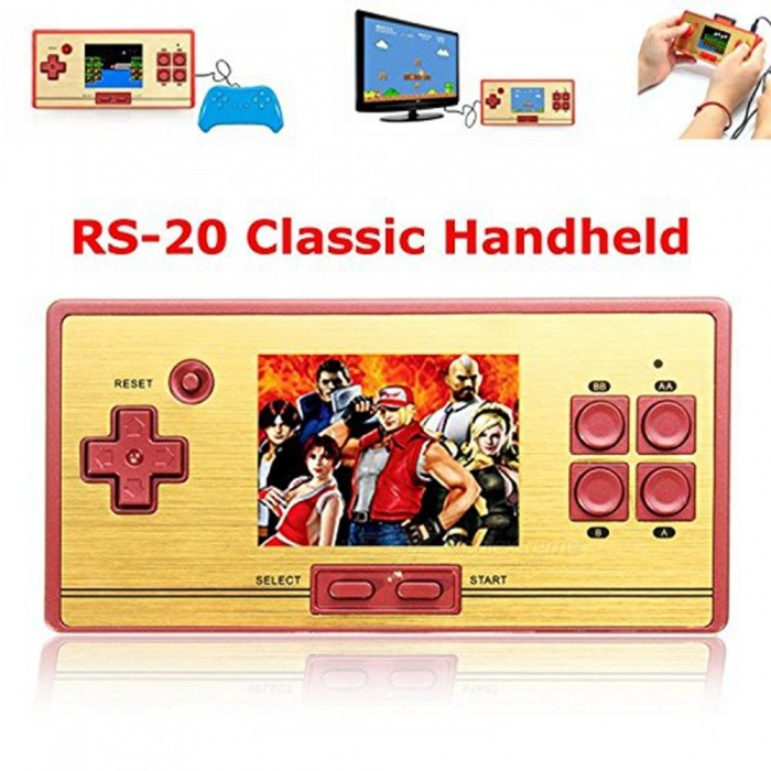 Portable Handheld 2.6 Classic Video Game Machine Console with Built-in 600 Games for Children - RedOther Consoles Accessories<br>ColorRed + GoldQuantity1 pieceMaterialABSPacking List1 x Classic Game Console1 x USB charging cable1 x AV output cable1 x User Manual1 x Plush bag<br>