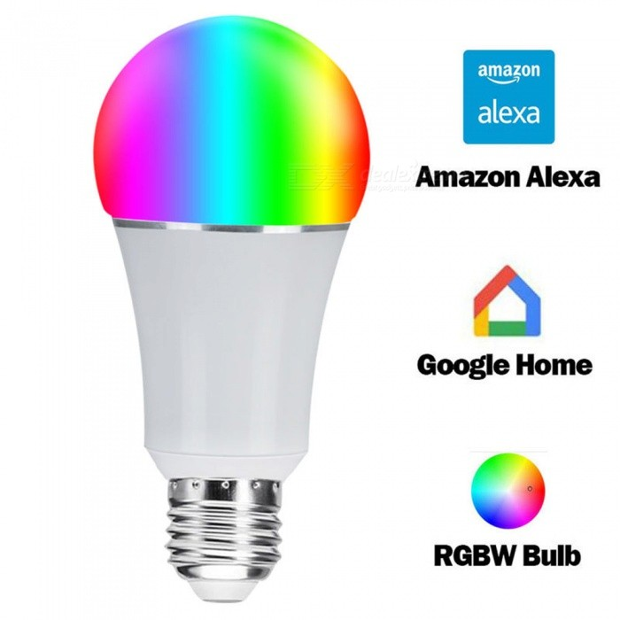 P-TOP E27 Wi-Fi RGB LED Bulb Light, Voice Control by Alexa Echo / Google HomeSmart Lighting<br>Emitting ColorRGBMaterialAluminum+PlasticForm  ColorWhiteQuantity1 setPower6WRated VoltageAC 85-265 VConnector TypeE27Chip BrandEpistarEmitter TypeLEDTotal Emitters22Actual Lumens600 lumensColor Temperature3000KDimmableYesPacking List1 x E27 Wi-Fi RGB Led Bulb<br>