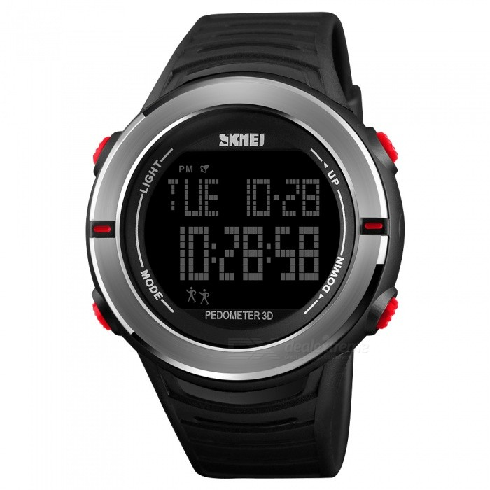 SKMEI 1322 50m Waterproof Mens Digital Sports Watch With Pedometer - RedSport Watches<br>ColorRedModel1322Quantity1 pieceShade Of ColorRedCasing MaterialABS and Stainless SteelWristband MaterialPUSuitable forAdultsGenderMenStyleWrist WatchTypeCasual watchesDisplayDigitalMovementDigitalDisplay Format12/24 hour time formatWater ResistantWater Resistant 5 ATM or 50 m. Suitable for swimming, white water rafting, non-snorkeling water related work, and fishing.Dial Diameter4.4 cmDial Thickness1.4 cmWristband Length25 cmBand Width2.2 cmBattery1 x CR2032Packing List1 x SKMEI 1322 Watch<br>