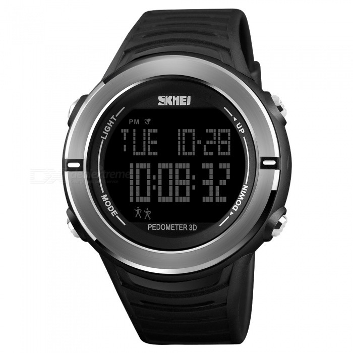 SKMEI 1322 50m Waterproof Mens Digital Sports Watch With Pedometer - BlackSport Watches<br>ColorBlackModel1322Quantity1 pieceShade Of ColorBlackCasing MaterialABS and Stainless SteelWristband MaterialPUSuitable forAdultsGenderMenStyleWrist WatchTypeCasual watchesDisplayDigitalMovementDigitalDisplay Format12/24 hour time formatWater ResistantWater Resistant 5 ATM or 50 m. Suitable for swimming, white water rafting, non-snorkeling water related work, and fishing.Dial Diameter4.4 cmDial Thickness1.4 cmWristband Length25 cmBand Width2.2 cmBattery1 x CR2032Packing List1 x SKMEI 1322 Watch<br>