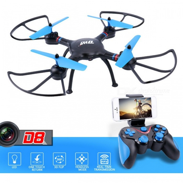 DWI Dowellin D8 HD FPV Wi-Fi RC Helicopter Quadcopter Drone with 1.0MP 720P Camera, 2.4G Altitude Hold - Black + BlueR/C Airplanes&amp;Quadcopters<br>ColorBlack + Blue (720P Camera)ModelD8MaterialPlastic,Rubber,MetalQuantity1 setShade Of ColorBlackGyroscopeYesChannels Quanlity6 channelFunctionOthers,Ascending/Descending/Forward/Backward/Turn Left/Turn Right/Headless Mode/One Key Take-off/One Key Landing/One Key Stop/One Key FlipRemote TypeRadio ControlRemote control frequency2.4GHzRemote Control Range60-80 mSuitable Age 8-11 years,12-15 years,Grown upsCameraYesCamera PixelOthers,1.0MPLamp YesBattery TypeLi-polymer batteryBattery Capacity400 mAhCharging Time60 minutesWorking Time5-6 minutesRemote Controller Battery TypeAARemote Controller Battery Number4 (Not Included)Remote Control TypeWirelessModelMode 2 (Left Throttle Hand)Other Featureshttp://www.aliexpress.com/item/RC-Quadcopter-RC-Drone-with-Camera-hd-FPV-WiFi-Remote-Control-Helicopter-Toy-2-4G-Altitude/32839566036.html?spm=2114.search0104.3.1.72bd3d8ddWqhBg&amp;ws_ab_test=searchweb0_0,searchweb201602_1_10065_10344_10068_10342_10343_10340_10548_10341_10084_10617_10083_10616_10618_10615_10307_10301_5920011_10313_10059_10534_100031_10103_441_10624_442_10623_10622_10621_10620_10142,searchweb201603_28,ppcSwitch_5&amp;algo_expid=93278325-429b-4eeb-b9e4-8f8145dbc957-0&amp;algo_pvid=93278325-429b-4eeb-b9e4-8f8145dbc957&amp;priceBeautifyAB=1<br><br>http://detail.1688.com/offer/560472956304.html?spm=a2615.7691456.0.0.559ce090QxJubBPacking List1 x Drone1 x Remote Controller1 x 3.7V 400mAh Li-Po Battery1 x User Manual1 x USB Cable2 x Blades1 x Screwdriver<br>