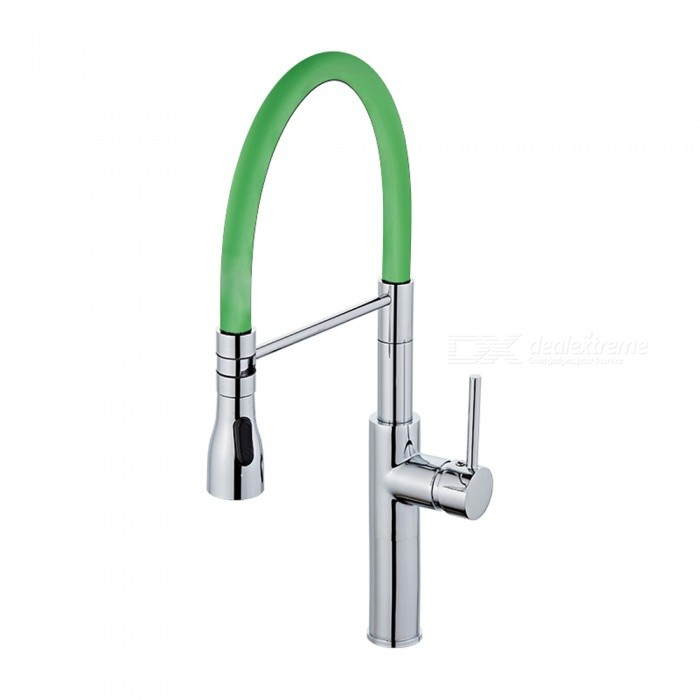 F-9112C Brass Chrome 360 Degree Rotatable Ceramic Valve Single Handle One-Hole Kitchen Faucet - GreenKitchen Faucets<br>ColorGreenSizeOther Regions/CountriesModelF-9112CMaterialBrassQuantity1 setFinishChromeValve TypeCeramic ValveNumber of handlesSingleSpout Height19.5 cmSpout Length20 cmTotal Height52 cmPacking List1 x Faucet2 x Stainless steel tubes (60cm)<br>