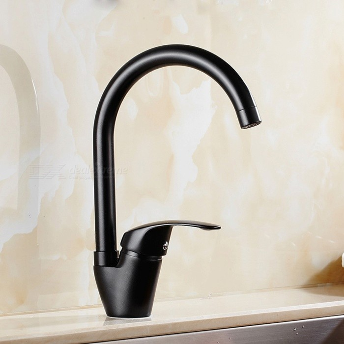 F-9099B Brass Black Spray Paint 360 Degree Rotatable One-Hole Kitchen Faucet with Ceramic Valve, Single Handle - BlackKitchen Faucets<br>ColorBlackSizeNorth AmericaModelF-9099BMaterialBrassQuantity1 setFinishChromeValve TypeCeramic ValveNumber of handlesSingleSpout Height21 cmSpout Length21 cmTotal Height30 cmPacking List1 x Faucet2 x Stainless steel tubes (60cm)<br>