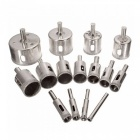 6-50mm diamond coated drill bits set chuck hole saw cutter tool for glass marble ceramic - 15pcs