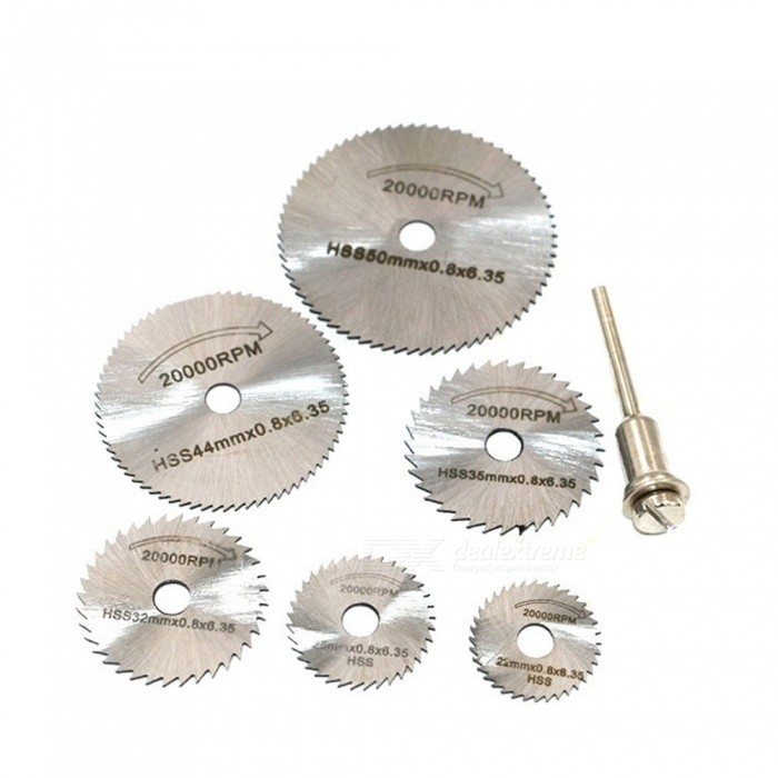 3.2mm Rod HSS Cutting Blade Wood Plastic Copper Aluminum Soft Metal Saw Blade - 7PCSQuantity6+1Quantity1 setMaterialHigh-speed steelPacking ListA set of high-speed steel cutting film<br>