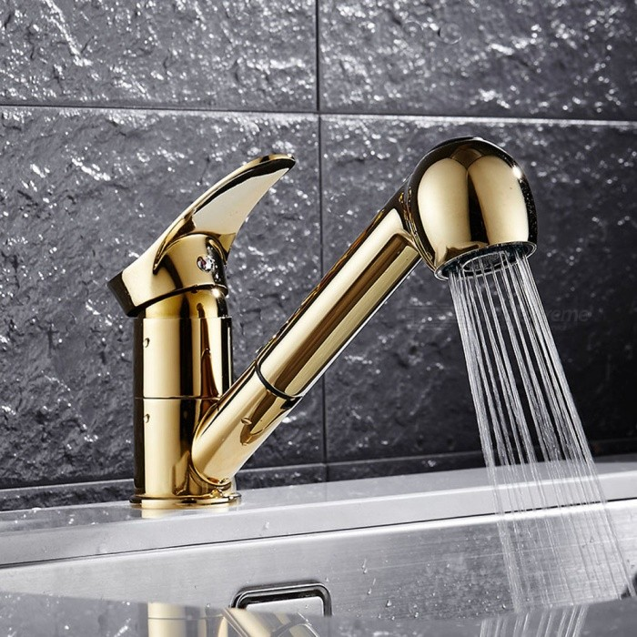 F-9074G Brass Ti-PVD Pull-out/Pull-down 360 Degree Rotatable One-Hole Kitchen Faucet with Ceramic Valve, Single Handle - GoldKitchen Faucets<br>ColorGoldSizeOther Regions/CountriesModelF-9074GMaterialBrassQuantity1 setFinishOthers,Ti-PVDValve TypeCeramic ValveNumber of handlesSingleSpout Height10.5 cmSpout Length24 cmTotal Height16 cmPacking List1 x Faucet2 x Stainless steel tubes (60cm)1 x Gravity ball1 x O-ring2 x Fixed gaskets2 x Nut screws<br>