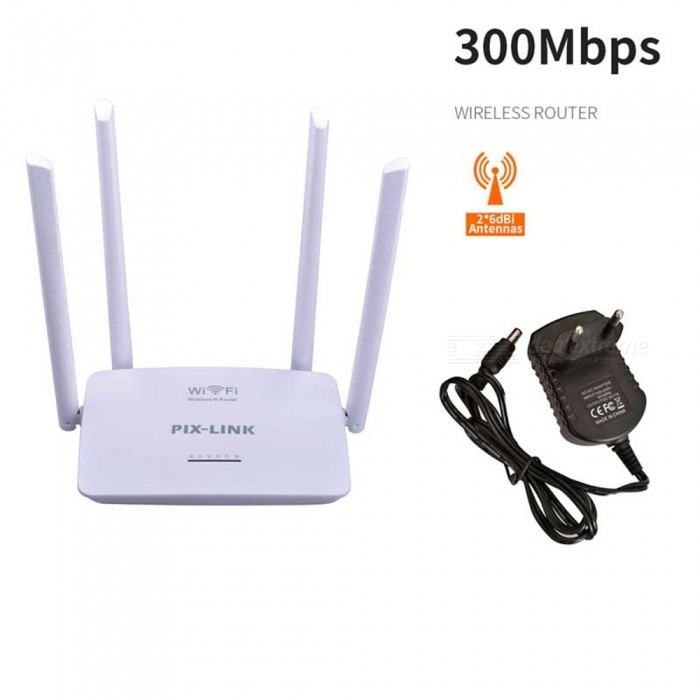 4 Antennas 300M Wireless Router Home Wireless Router Wireless Repeater - White (EU Plug)Routers<br>ColorWhitePower AdapterEU PlugModelLV-WR08Quantity1 pieceMaterialABSShade Of ColorWhiteTypeRouterUI LanguageEnglishSupport DD-WRTYesPacking List1 x Router1 x Power supply (AC100-240V wire length 30cm)1 x RJ45 cable1 x English manual<br>