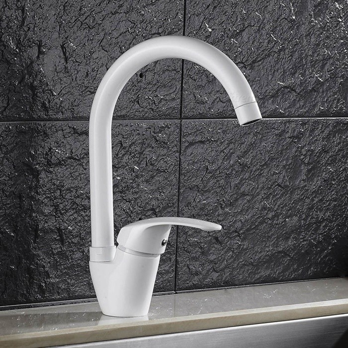 F-9099W Brass White Spray Paint 360 Degree Rotatable Single Handle One-Hole Kitchen Faucet with Ceramic Valve - WhiteKitchen Faucets<br>ColorWhiteSizeOther Regions/CountriesModelF-9099WMaterialBrassQuantity1 setFinishOthers,White Spray PaintValve TypeCeramic ValveNumber of handlesSingleSpout Height21 cmSpout Length21 cmTotal Height30 cmPacking List1 x Faucet2 x Stainless steel tubes (60cm)<br>