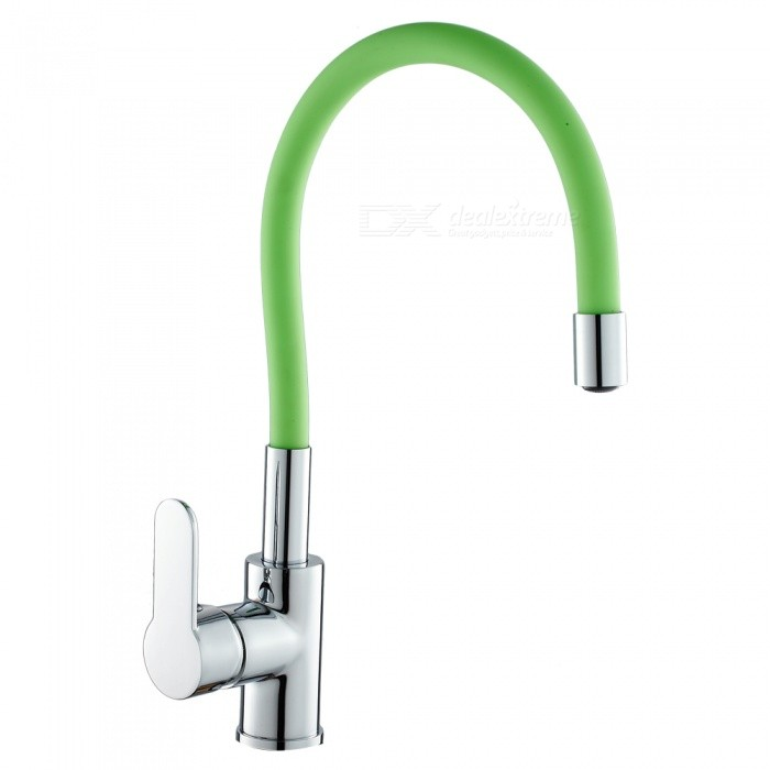 F-9104C Brass Chrome 360 Degree Rotatable Ceramic Valve Single Handle One-Hole Kitchen Faucet - GreenKitchen Faucets<br>ColorGreenSizeOther Regions/CountriesModelF-9104CMaterialBrassQuantity1 setFinishChromeValve TypeCeramic ValveNumber of handlesSingleSpout Height25 cmSpout Length20 cmTotal Height38 cmPacking List1 x Faucet2 x Stainless steel tubes (60cm)<br>