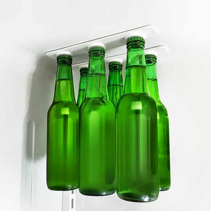Portable Magnetic Bottle Hanger Holder, Beer Storage Organizer - White (2 PCS)