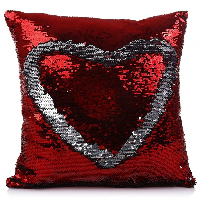 Magic Reversible Sequins Mermaid Pillow Case Cover  - RedLifestyle Gadgets<br>ColorRedMaterialOtherQuantity1 piecePacking List1 x Pillow Case<br>