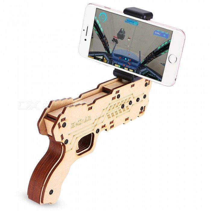 3D Wooden Mobile Game Pistol Gun Toy AR GUN Real Wood Pressure Relief GunBB guns amd Accessories<br>ColorBeigeMaterialWoodQuantity1 piecePacking List1 x Gun Model1 x Mobile Phone Holder1 x Screwdriver1 x Chinese/English Manual<br>