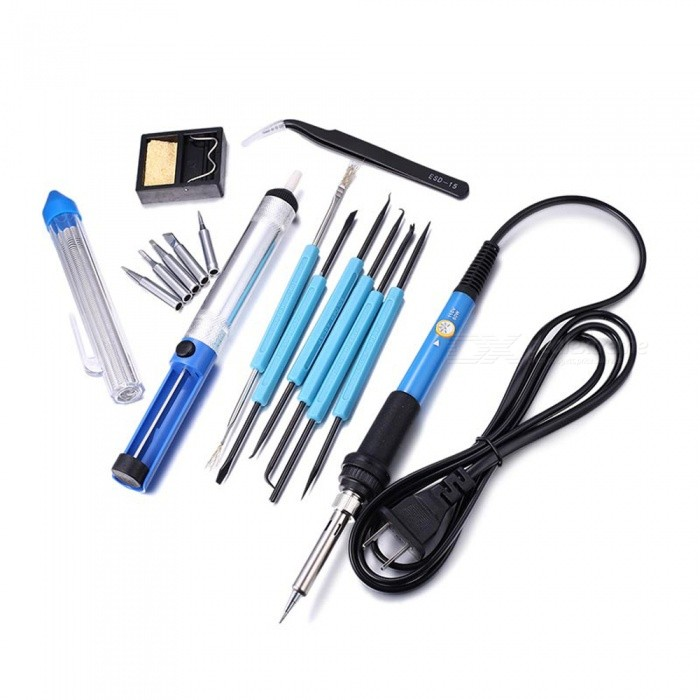 Dayspirit 60W 110V Adjustable Temperature Electric Welding Soldering Iron Tool Kit (US Plug)Soldering Supplies<br>ColorMultiColorModelN/AQuantity1 setMaterialElectric iron with rubber handleInput Voltage110 VMax Temperature450 ?Temperature ControlYes ?Packing List1 x Soldering Iron2 x Tweezers1 x Solder sucker1 x Tin wire tube1 x Soldering holder with cleaning sponge1 x Carrying bag<br>