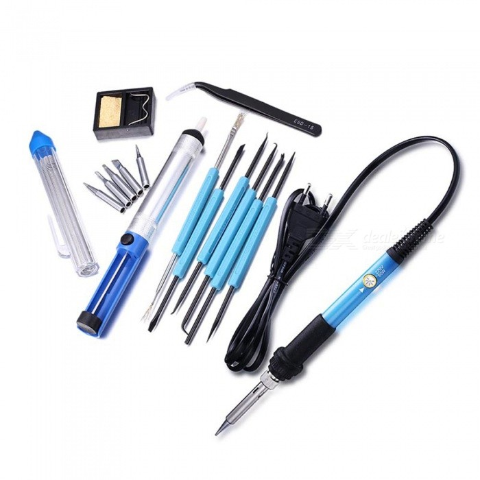 Dayspirit 60W 220V Adjustable Temperature Electric Welding Soldering Iron Tool Kit (EU Plug)Soldering Supplies<br>ColorEU PlugModelN/AQuantity1 setMaterialElectric iron with rubber handleInput Voltage220 VPower AdapterEU PlugMax Temperature450 ?Temperature ControlYes ?Packing List1 x Soldering Iron2 x Tweezers1 x Solder sucker1 x Tin wire tube1 x Soldering holder with cleaning sponge1 x Carrying bag<br>