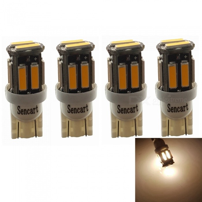 Sencart T10 7020SMD 10-LED Warm White Car Marker Light, Interior Reading Dome Light (4 PCS / DC12V)Signal Lights<br>Color4PCS T10 Warm WhiteModel7020 LED LightQuantity4 piecesMaterialABS+PCB+LEDPower3 WWorking Voltage12-16VConnectorOthers,T10Bulb Specification10Brightness240-260LMColor BIN3000-3500KApplicationHigh Beam Lamp,Low Beam Lamp,Fog Bulb,Front Turn Signals Bulb,Side Turn Signals Bulb,Rear Turn Signals Bulb,Brake BulbPacking List4 x T10 LED Lights<br>