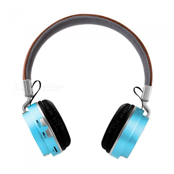 OJADE Fashion Wireless Bluetooth Leather Stereo Headset with MIC for Phone PC�� Support TF Card - Blue