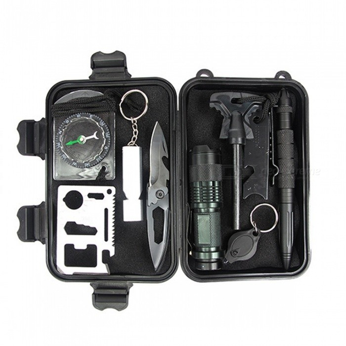 AOTU 10 in 1 Outdoor Emergency Survival Kit, Compass / Knife / Fire Starter / Whistle / Flashlight and MoreFirst Aid<br>ColorBlack + SilverQuantity1 setMaterialSteel+aluminum+ABSBest UseCampingPacking List1 x AOTU 10 in 1 Outdoor Emergency Survival Kit<br>