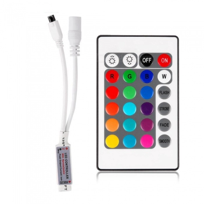 Sencart For 3528 5050 RGB LED Strip Light Mini 24 Key IR Remote Wireless ControllerDimmer Controllers<br>Color24 KeyModelWireless RemoteMaterialABSQuantity1 pieceWith Switch ControlYesPower72 WWorking Temperature-40-60 ?Water-proofYesRanges of remote10 mWorking Voltage   5-24 VWorking Current6 ADimmableYesPacking List1 x Controller1 x 24key IR Remote<br>