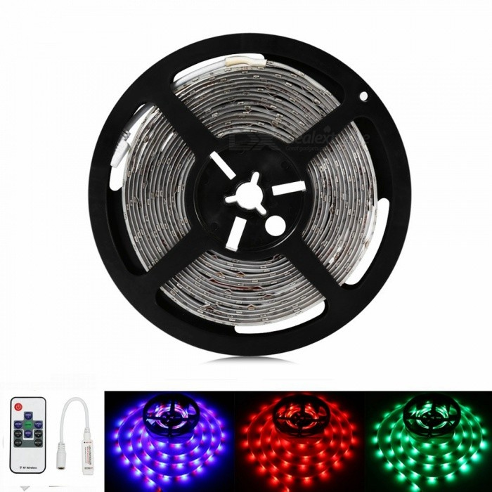 Sencart 5M 5630 RGB 300LED Waterproof Strip Light Flexible Tape 10Key Remote Indoor Outdoor Lighting Decor5630 SMD Strips<br>ColorRGB+10Key RemoteModel5M 5630RGBMaterialLED+PCBForm  ColorWhiteQuantity1 setPower72WRated VoltageDC 12 VChip BrandEpistarEmitter Type5630 SMD LEDTotal Emitters300WavelengthRed: 635-700 nm Blue: 450-490 nm Green: 490-560 nmTheoretical Lumens7500 lumensActual Lumens3500 lumensPower AdapterSolar PoweredPacking List1 x 5630 RGB LED Strip1 x Mini 10 key RF Controller<br>