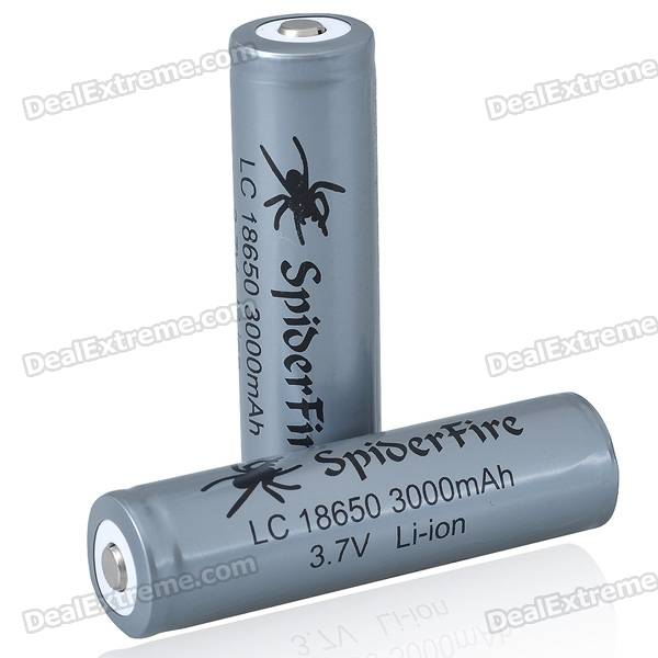 SpiderFire Protected 18650 3.7V 3000mAh Batteries (Pair) ultrafire protected 18650 3 7v 2400mah lithium batteries 2 pack grey