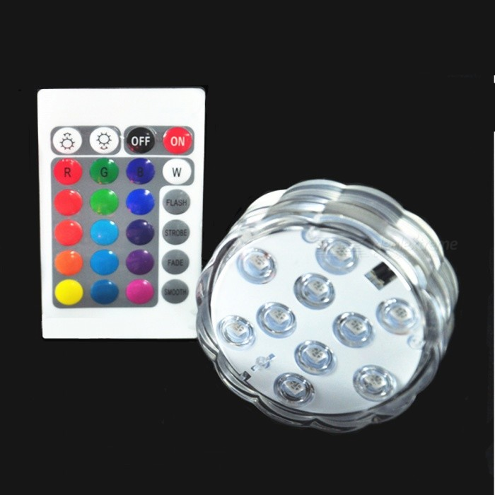 16-Color Multi-function Underwater Infrared Remote Control LED Lamp - WhiteUnderwater Lights<br>ColorWhiteMaterialPSQuantity1 pieceLife Span10000-15000 hoursWater-proofIP68Power2WRated VoltageOthers,4.5 VEmitter TypeLEDTotal Emitters10Theoretical Lumens200 lumensActual Lumens160 lumensColor BINMulti-colorDimmableYesInstallation TypeOthers,No need to installCertificationCEPacking List1 x LED Lamp 1 x Wireless Remote Control (With Button Battery)<br>