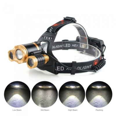 AIBBER TONE Portable 3-LED T6 4-Mode High Power LED Head Torch Lamplight, IR Sensor Induction Headlamp