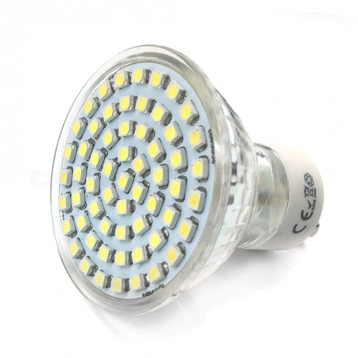 Qook GU10 4.5W Cold White Light 450LM 60-SMD 3528 LED Bulb Lamp (220~240V)GU10<br>Color60 Cold White-C612ModelC612-001MaterialGlassForm  ColorWhiteQuantity1 setPower4WRated VoltageAC 220-240 VConnector TypeGU10Theoretical Lumens500 lumensActual Lumens450 lumensEmitter Type3528 SMD LEDTotal Emitters60Color Temperature6000KDimmableNoBeam Angle180 °CertificationN/AOther FeaturesN/APacking List1 x LED light<br>