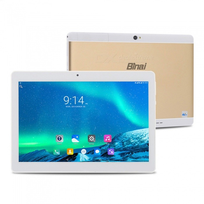 Binai G10 MediaTek MT6753 Octa-Core 1.5GHz Mali720 Graphics 10.1 Tablet with 3GB RAM, 64GB ROM - GoldenAndroid Tablets<br>ColorGoldenBrandOthersModelG10Quantity1 setMaterialMetal + ABSProcessor BrandOthers,MT6753 Octa-CoreProcessor ModelOthers,MT6753 Octa-CoreProcessor Speed1.5 GHzNumber of CoresOcta-CoreGPUMali720Built-in Memory / RAMOthers,3GBCapacity / ROM64GBScreen Size10.1 inchesScreen Size9 inches~10.1 inchesScreen TypeIPSTouch TypeCapacitive screenResolution1920 x 1200Touch Point5-point Capacitive Touch Screen3G TypeTD-SCDMA,CDMA20004G standardFDD-LTE,TD-LTEOperating SystemAndroid 7.0Supported NetworkWifi,4GGPSYesBuilt-in SpeakersYesInterface1 x 3.5mmGoogle Play(Android Market)YesCamera type2 x CamerasFront Camera Pixels2.0 MPBack Camera Pixels8.0 MPStorage InterfaceTFSupported LanguagesEnglish,French,German,Italian,Spanish,Portuguese,Russian,Vietnamese,Polish,Greek,Danish,Norwegian,Dutch,Arabic,Turkey,Japanese,Bahasa Indonesia,Korean,Thai,Maltese,Hungarian,Latin,Persian,Malay,Slovak,Czech,Romanian,Swedish,Finnish,Simplified Chinese,Traditional Chinese,Bulgarian,Norwegian,HebrewBattery Capacity6500 mAhPacking List1 x Binai G10 Octa Core Tablet PC1 x USB Cable1 x OTG1 x Charger1 x Adapter<br>