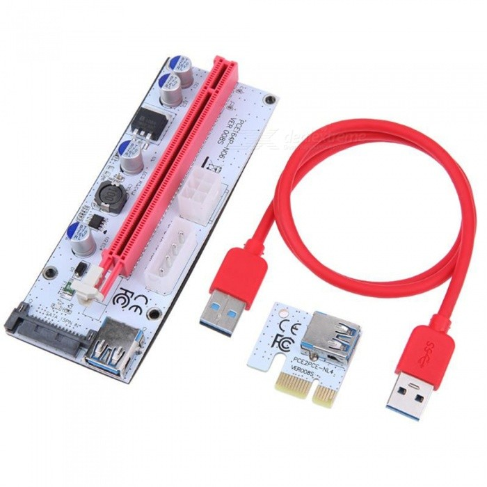 VER008S PCI-E Riser 1X 16X USB3.0 Adapter Card Cable Wire for BTC Miner - RedNetwork Cables and Adapters<br>ColorRedModelVER008SQuantity1 pieceMaterialPVCInterfaceUSB 3.0Powered ByUSBSupports SystemWin xp,Win 2000,Win 2008,Win vista,Win7 32,Win7 64,Win8 32,Win8 64,MAC OS X,IOS,Linux,Android 2.x,Android 4.xPacking List1 x PCI-E 16X Card1 x PCI-E 1X Card1 x USB 3.0 Cable (60cm)<br>