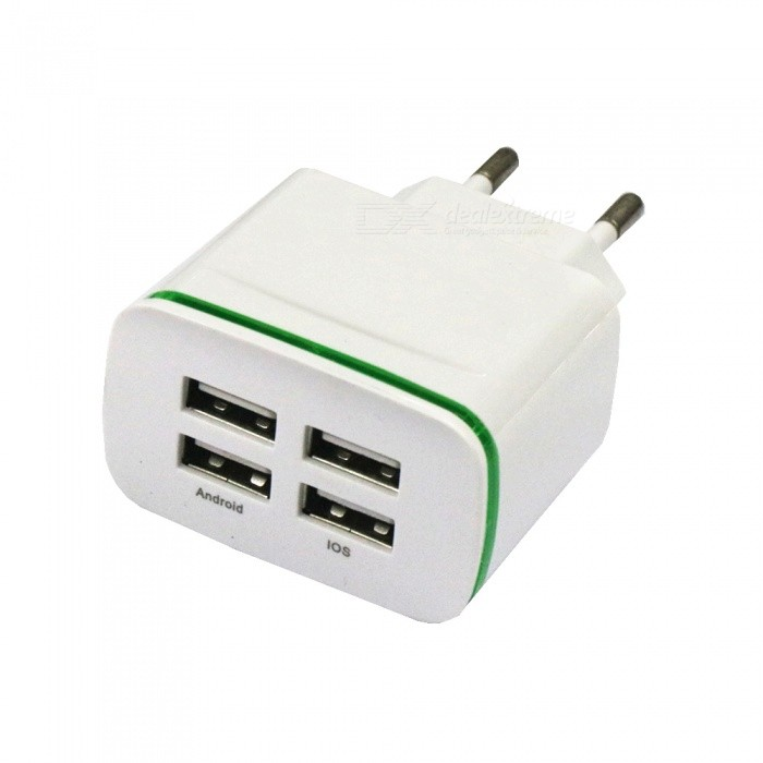 4-Port USB AC100-240 4A Mobile Phone Charger with Green Indicator Light - EU PlugPlugs &amp; Sockets<br>ColorWhiteModel4USBQuantity1 setMaterialABSFireproof MaterialYesRate VoltageAC 100-240V / 50-60Hz.Rated Current4 ARated Power10 WCompatible PlugOthers,USBGroundingNoOutlet4 setWith Switch ControlNoSurge Protection FunctionYesLightning Protection FunctionYesWith FuseYesPower AdapterEU PlugPacking List1 x Charger<br>