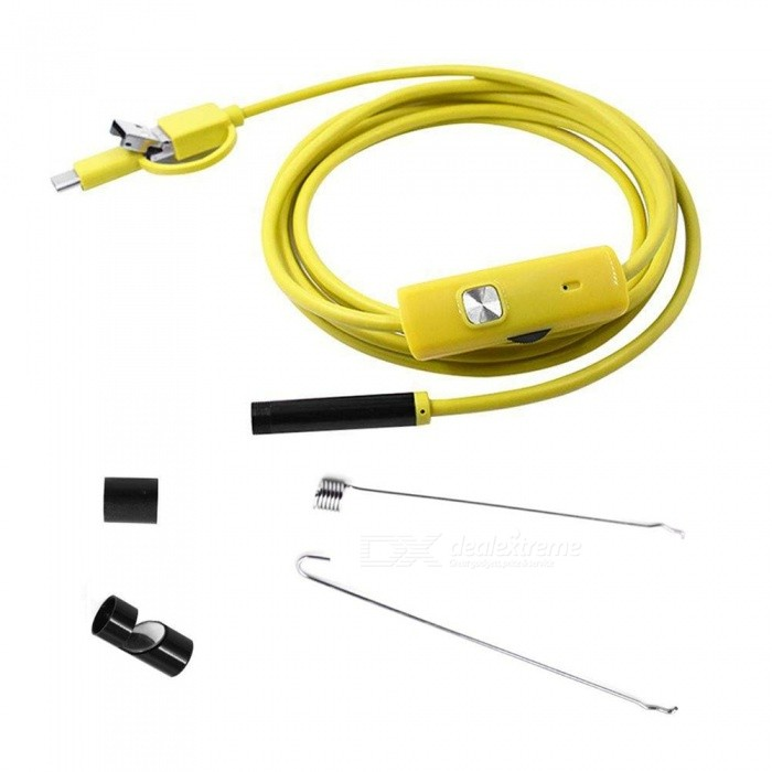 3-in-1 7mm USB Endoscope Waterproof Inspection Camera for Android PhoneMicroscopes &amp; Endoscope<br>Color10MModelMK002Quantity1 pieceForm  ColorYellowMaterialPVCCamera Pixels640 x 480Compatible OSWindowsXP/  Windows7/  Windows8/  Windows10  /  AndroidCamera head outer diameter7mmLED Bulb Qty6InterfaceUSB /Micro/ type-cPacking List1 x USB Endoscope1 x User Manual1 x Side Mirror1 x Hook1 x Magnet<br>