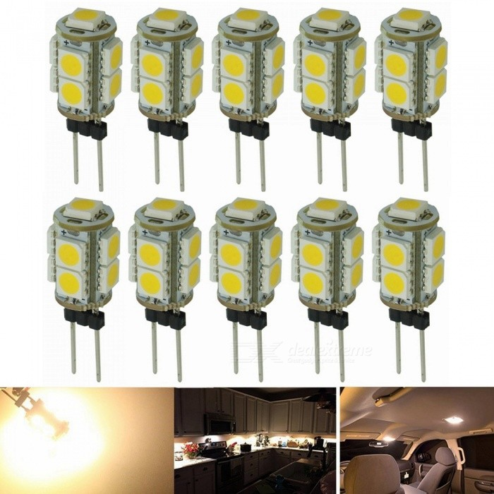 Sencart G4 Warm White 3000K 5050 9-LED Light Bulbs, Replacement Halogen Bulbs (10 PCS / DC12V)G4<br>Color9-LED Warm WhiteModelG4 LEDMaterialPCB+LEDForm  ColorWhiteQuantity1 setPower2WRated VoltageOthers,9-16 VConnector TypeG4Chip BrandEpistarChip Type5050Emitter Type5050 SMD LEDTotal Emitters9Theoretical Lumens135 lumensActual Lumens120 lumensColor Temperature3000KDimmableNoBeam Angle360 °Packing List10 x G4  LED Light Bulbs<br>