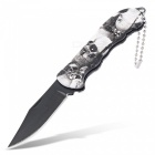 Mini outdoor sharp camping folding knife with key ring - black + white