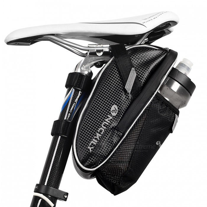 NUCKILY PL02 Portable Durable Folding Bicycle Back Seat Saddle Bag, Rear Tail Zipper Kettle Bag - BlackBike Bags<br>ColorBlackModelPL02Quantity1 pieceMaterialPUTypeSaddle BagsCapacityN/A mLWaterproofYesGenderUnisexBest UseCycling,Mountain Cycling,Recreational Cycling,Road Cycling,Triathlon,Bike commuting &amp; touringPacking List1 x Cycling bag<br>