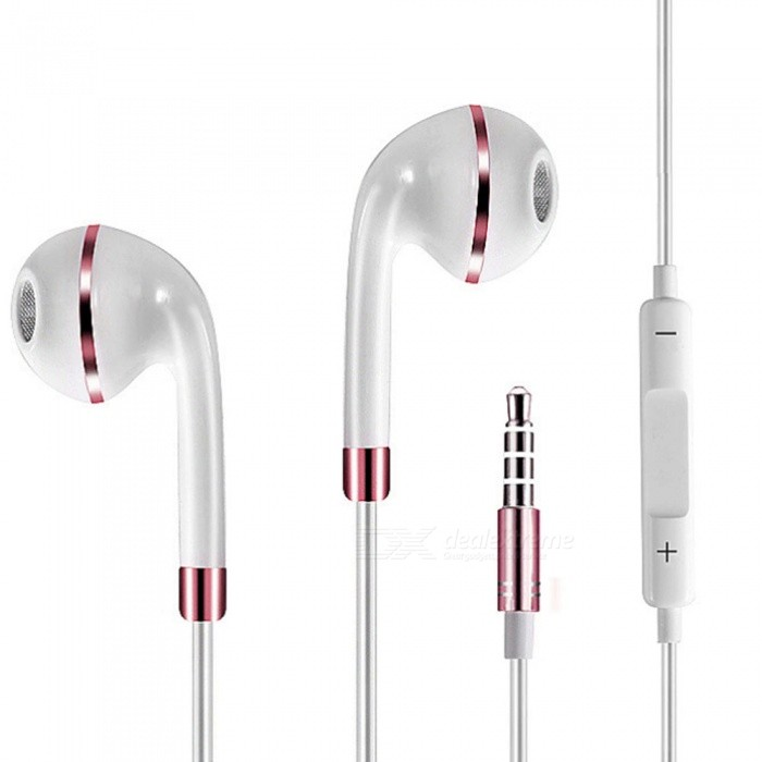 Universal 3.5mm Wired Stereo Headset Earphone with Microphone for Mobile Phones - White + Rose GoldHeadphones<br>ColorWhite + Rose GoldBrandOthers,N/AMaterialPVCQuantity1 DX.PCM.Model.AttributeModel.UnitConnectionRF,3.5mm WiredBluetooth VersionNoBluetooth ChipNoCable Length115 DX.PCM.Model.AttributeModel.UnitHeadphone StyleBilateral,In-EarWaterproof LevelIPX7Applicable ProductsUniversalHeadphone FeaturesHiFi,English Voice Prompts,Phone Control,Long Time Standby,Magnetic Adsorption,Noise-Canceling,Volume Control,With Microphone,Lightweight,Portable,Game HeadsetRadio TunerNoSupport Memory CardNoMax. Memory SupportedNOSupport Apt-XNoSNRnormalSensitivitynormalTHDnormalFrequency ResponsenormalImpedancenormal DX.PCM.Model.AttributeModel.UnitBattery TypeOthersPower AdapterOthersPacking List1 x Binaural Stereo Earphone<br>