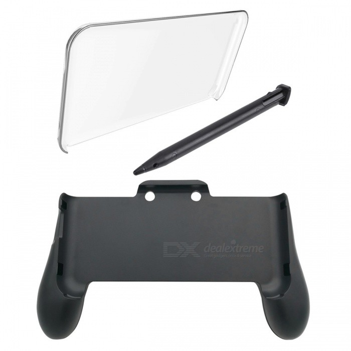 Kitbon 3-in-1 Accessories Hand Grip + Crystal Cover + Stylus Kit for Nintendo 2DS XL / LLCases &amp; Pouches<br>ColorBlackQuantity1 setMaterialABSShade Of ColorBlackCompatible ModelsOthers,Nintendo 2DS XL / Nintendo 2DS LLTypeBack Covers,Cases with StandPacking List1 x Grip for NEW Nintendo 2DS XL 1 x Crystal Cover 1 x Stylus<br>